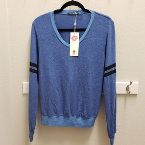 NWT Wildfox V-Neck Blue Sweater Long Sleeves